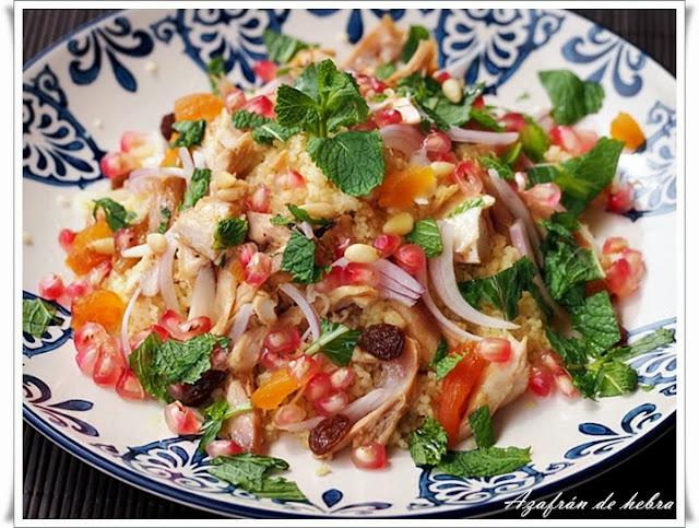 Cuscús con pollo en ensalada