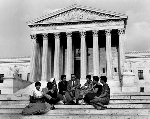 Thurgood Marshall after Brown v the Board of Education Students on Steps of the U.S. Supreme Court