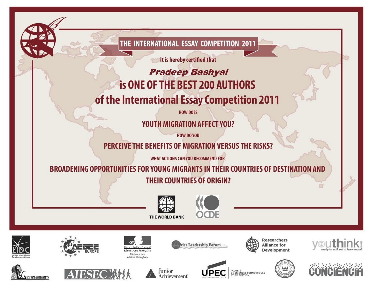 pradeep bashyal international essay competition on youth migration international essay competition on youth migration