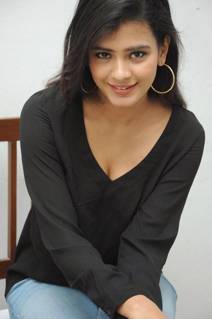 Actress Heebah Pate Latest Cute Hot Beautiful Black T-Shirt Spicy Photoshoot Gallery