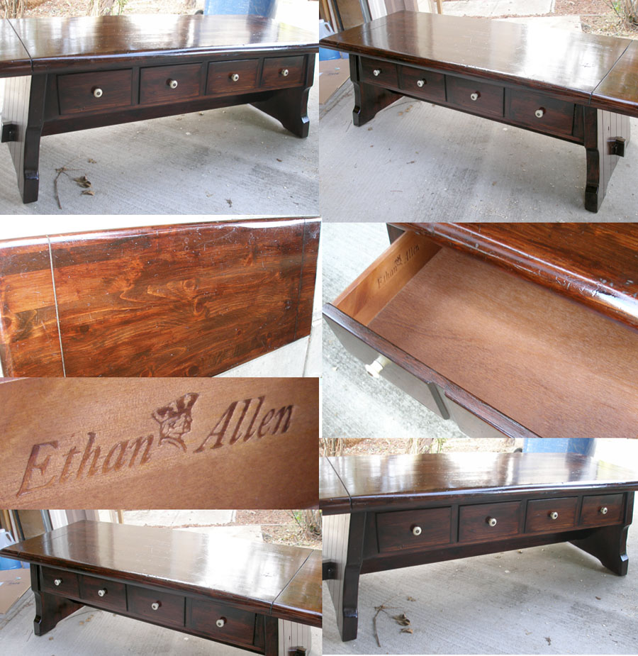 Ethan Allen Coffee Table With Drawers: Mission Style Coffee Table