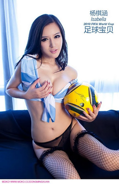 Chinese Model Isabella Sexy Soccer Uniform