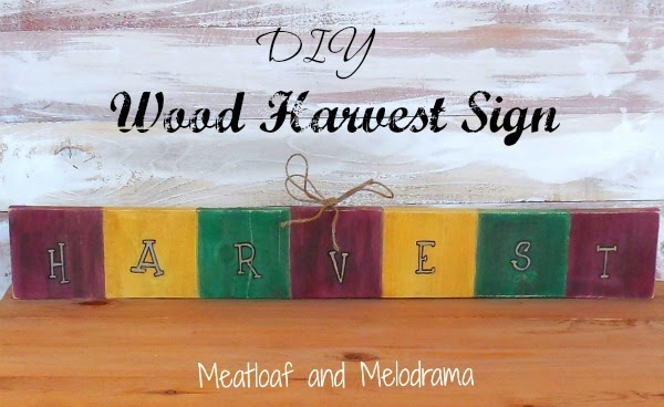 hand painted wood block harvest sign