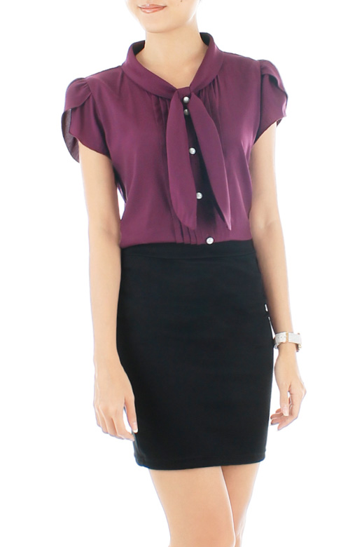 Crissy Cross Sash Blouse - Royal Plum
