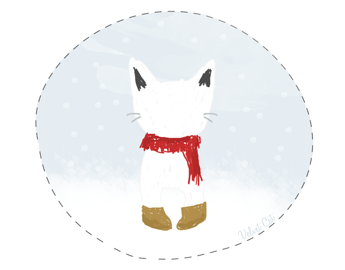ilustracion gato invierno
