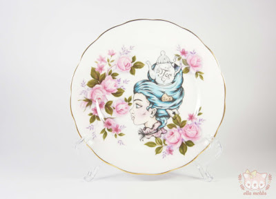 Ella Mobbs vintage butter plate with tea lady illustration