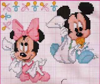 Bebês Disney Mickey e Minnie gráficos pra bordar