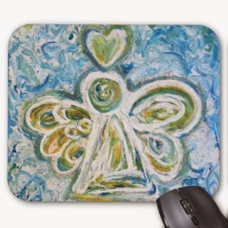 Golden Blue Angel Mousepad