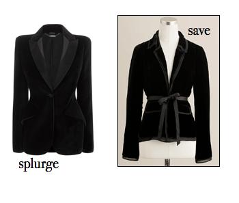black velvet blazer, splurge vs. save, j. crew blazer, alexander mcqueen blazer