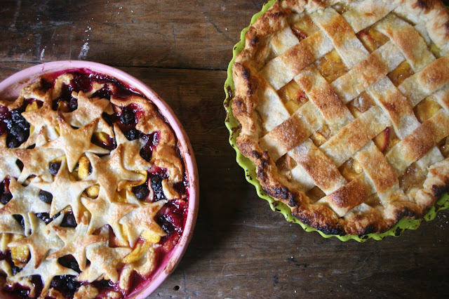 Peach Pie with Lattice Top and Blueberry Nectarine Pie with Star Crust