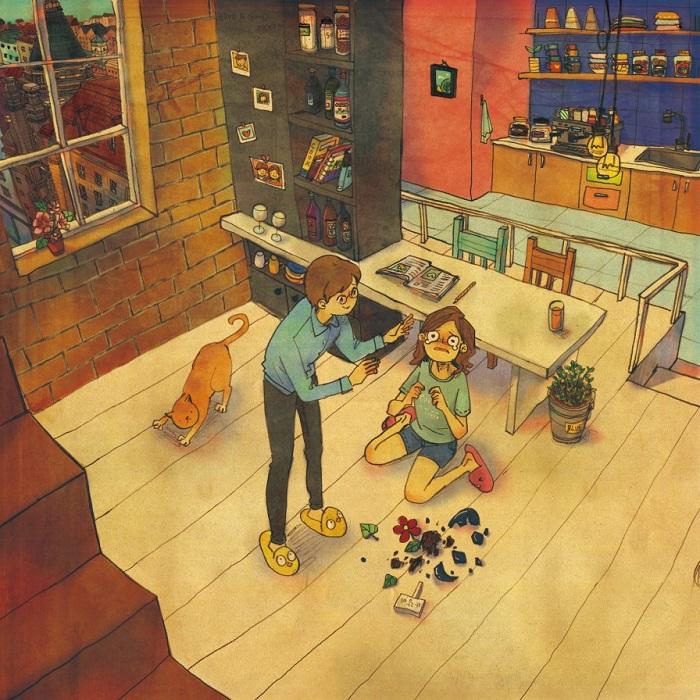 love in kitchen cartoon