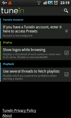 Android Radio - TuneIn Settings