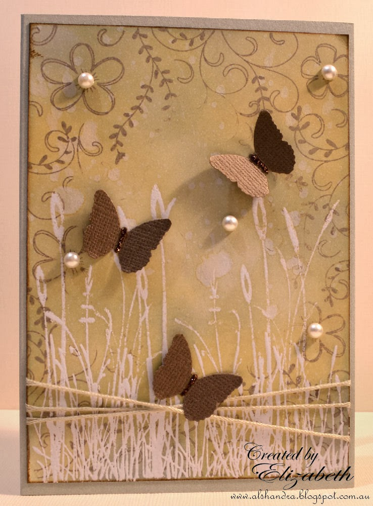 Elizabeth Whisson, Hero Arts, Flowers and Vines, Annabelle Stamps, All things grow, Martha Stewart, butterfly punch, heat embossing, distress ink