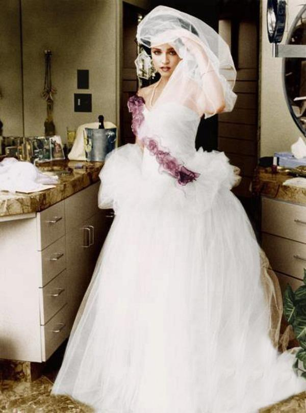 Madonna+wearing+her+wedding+dress+16th+August+1985+in+which+she+married+Sean+Penn. Most Beautiful Celebrity Wedding Dresses