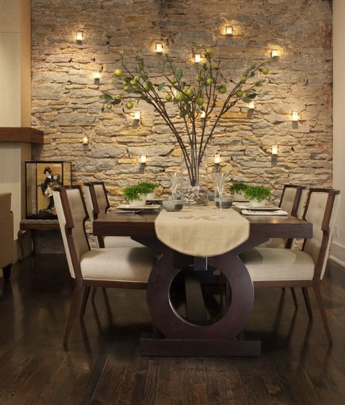 Contemporanea Ejemplos de muros y paredes con piedra decorativa