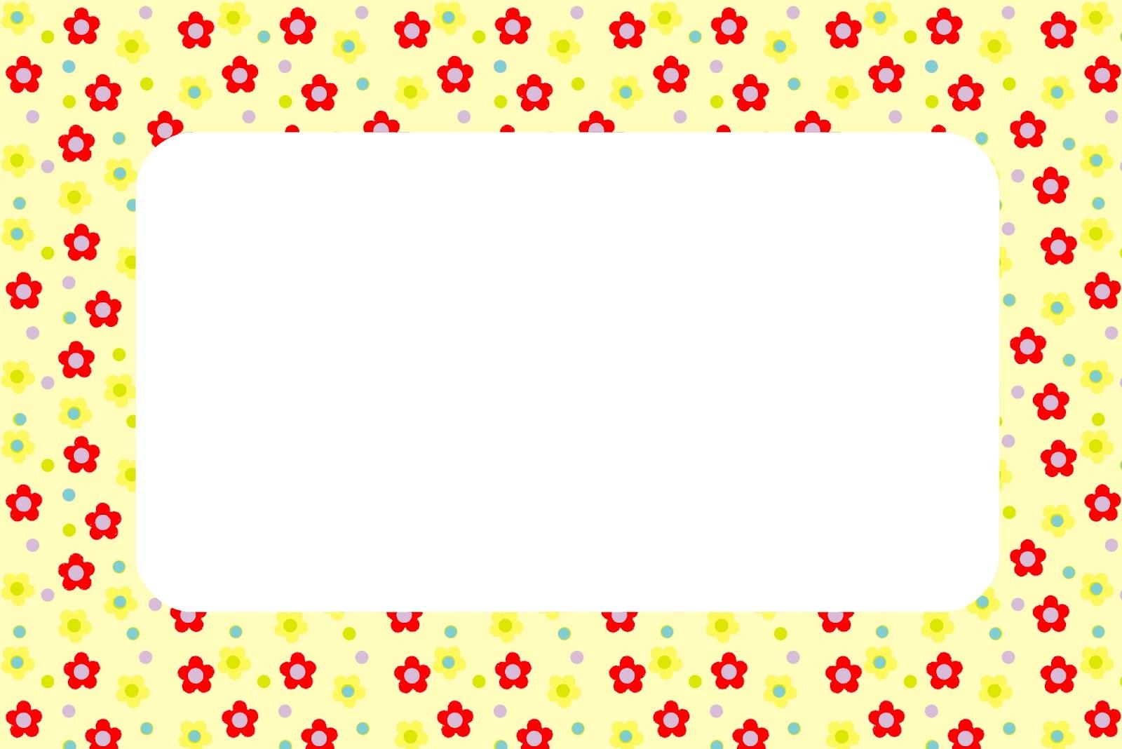 Moldura Convite E Cart  O Flores Vermelho E Amarelo