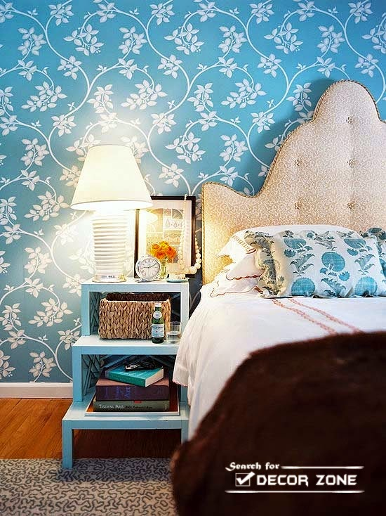 blue bedroom ideas beige bed and white blue wallpaper