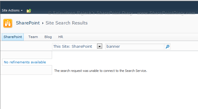 The search request was unable to connect to the Search Service