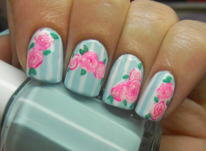 added just a little cnd effects raspberry sparkle to the roses i