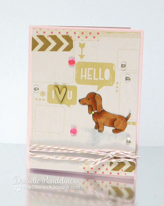 Dachshund Hello Card by Danielle Pandeline | Delightful Doxies Stamp set by Newton's Nook Designs