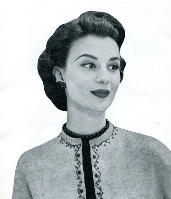 1950s beaded cardigan advertisement photo Just Peachy, Darling