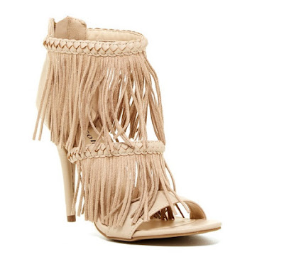 Ziginy Deedra neutral fringe high heeled sandals