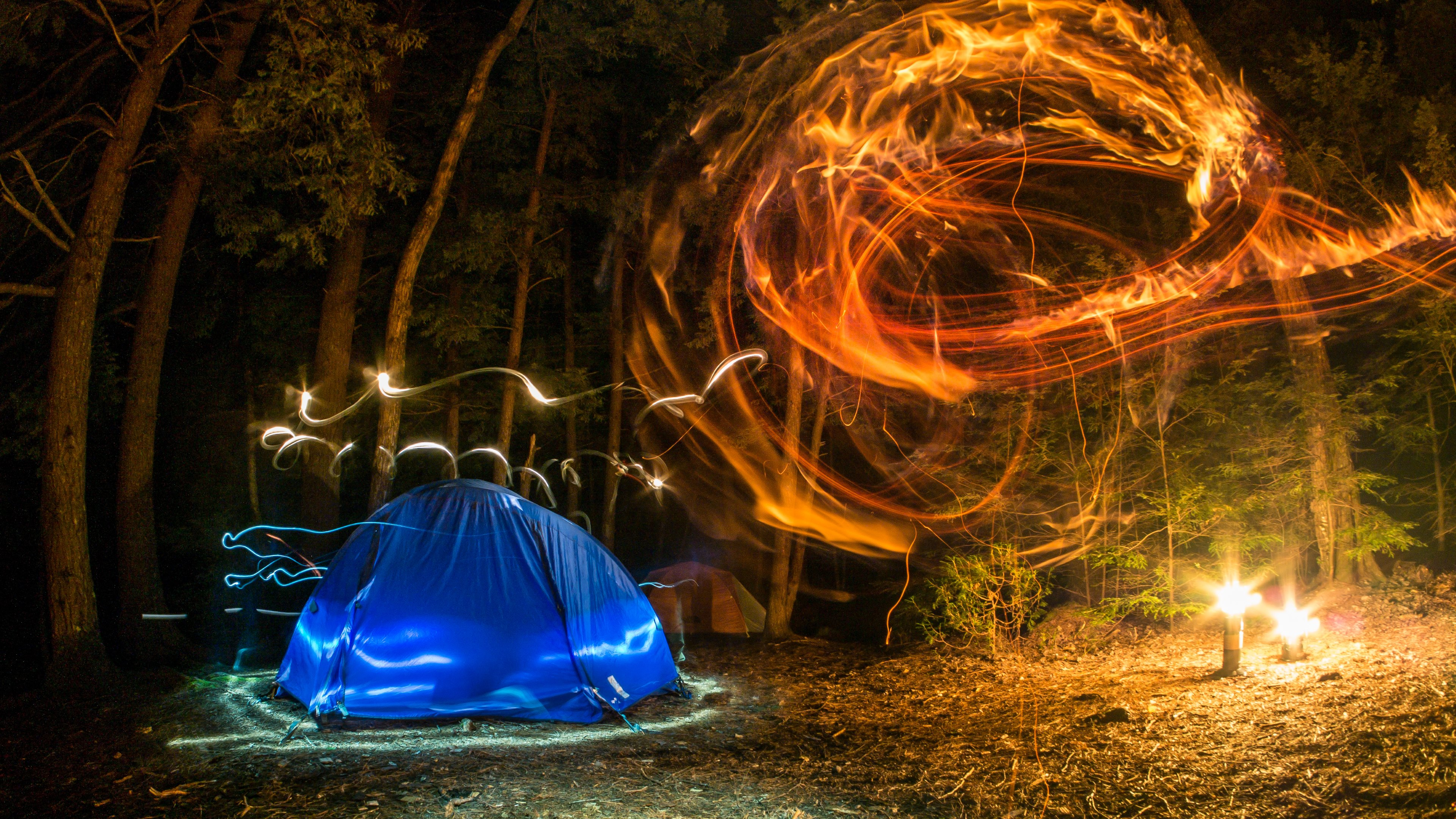 camping forest night lights creativity wallpapers
