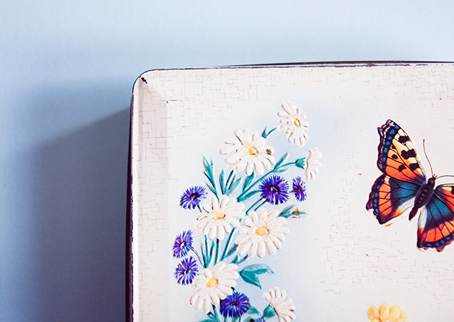 vintage tin with flowers and butterfly