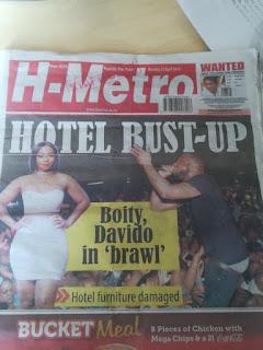 H-Metro report on Davido-Boity incident