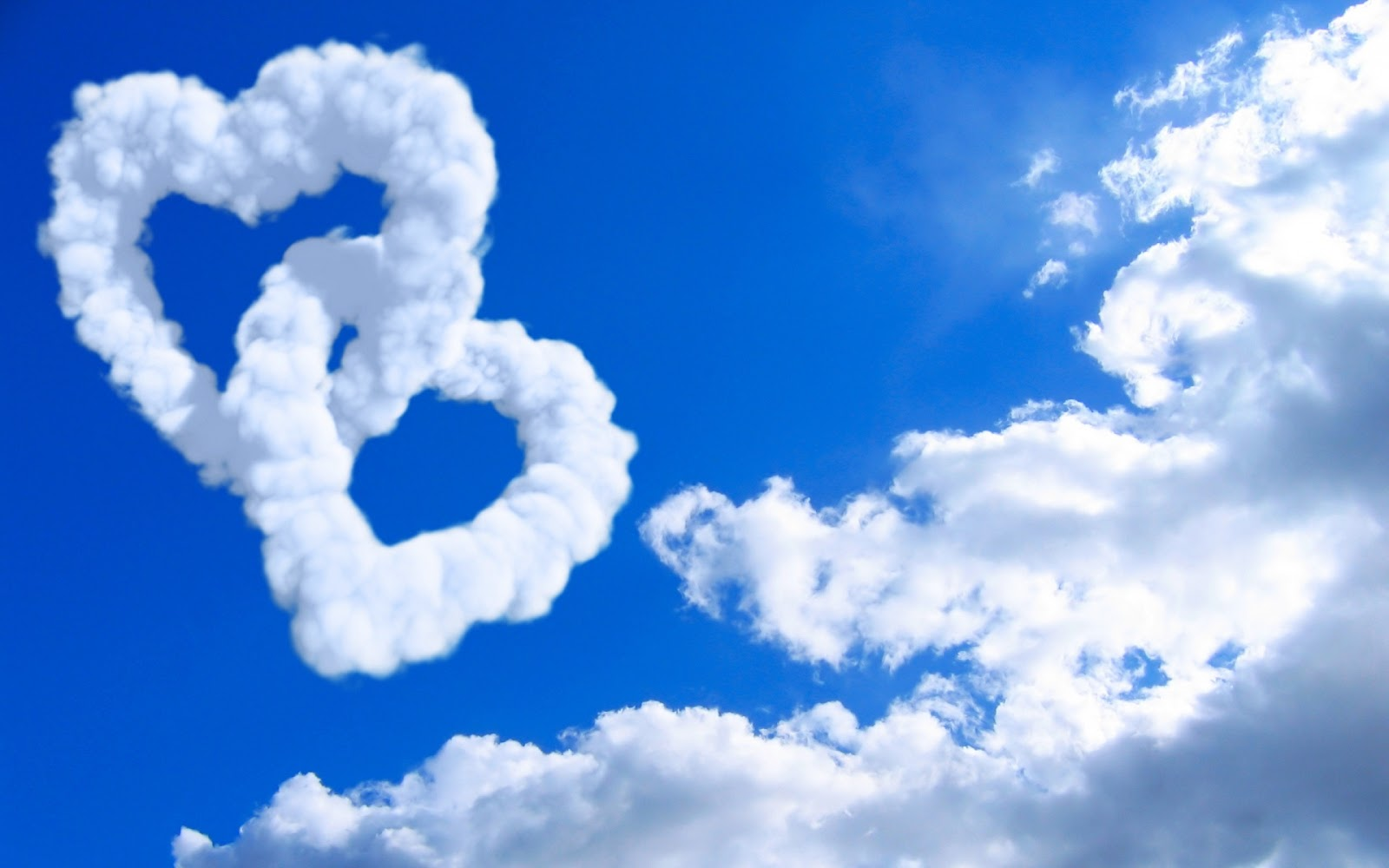 Love Hearts in Clouds 1920x100 Wallpaper