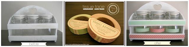 Decorar tarros con tele adhesiva / jars decorated with tissu tape / Tissue adhesif pour décorer des bocaux