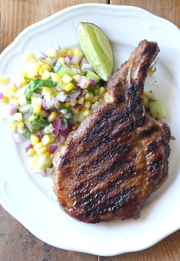 Thai Grilled Pork Chop with corn salad recipe by SeasonWithSpice.com