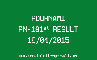 POURNAMI RN 181 Lottery Result 19-4-2015