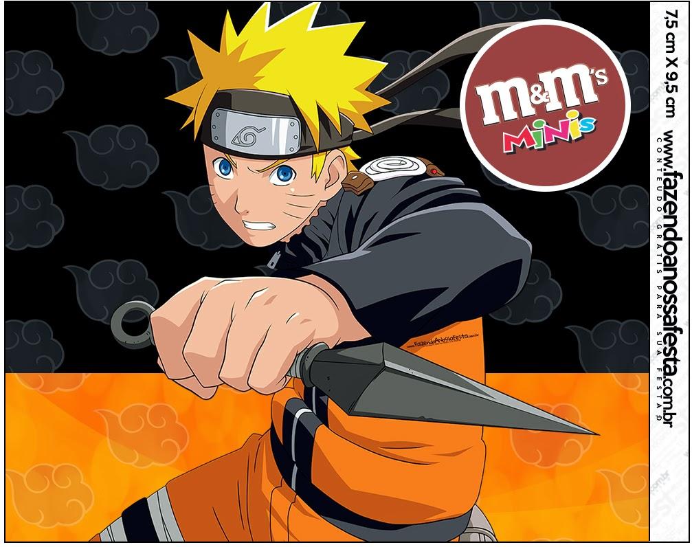 Etiquetas m&m de Naruto para imprimir gratis.