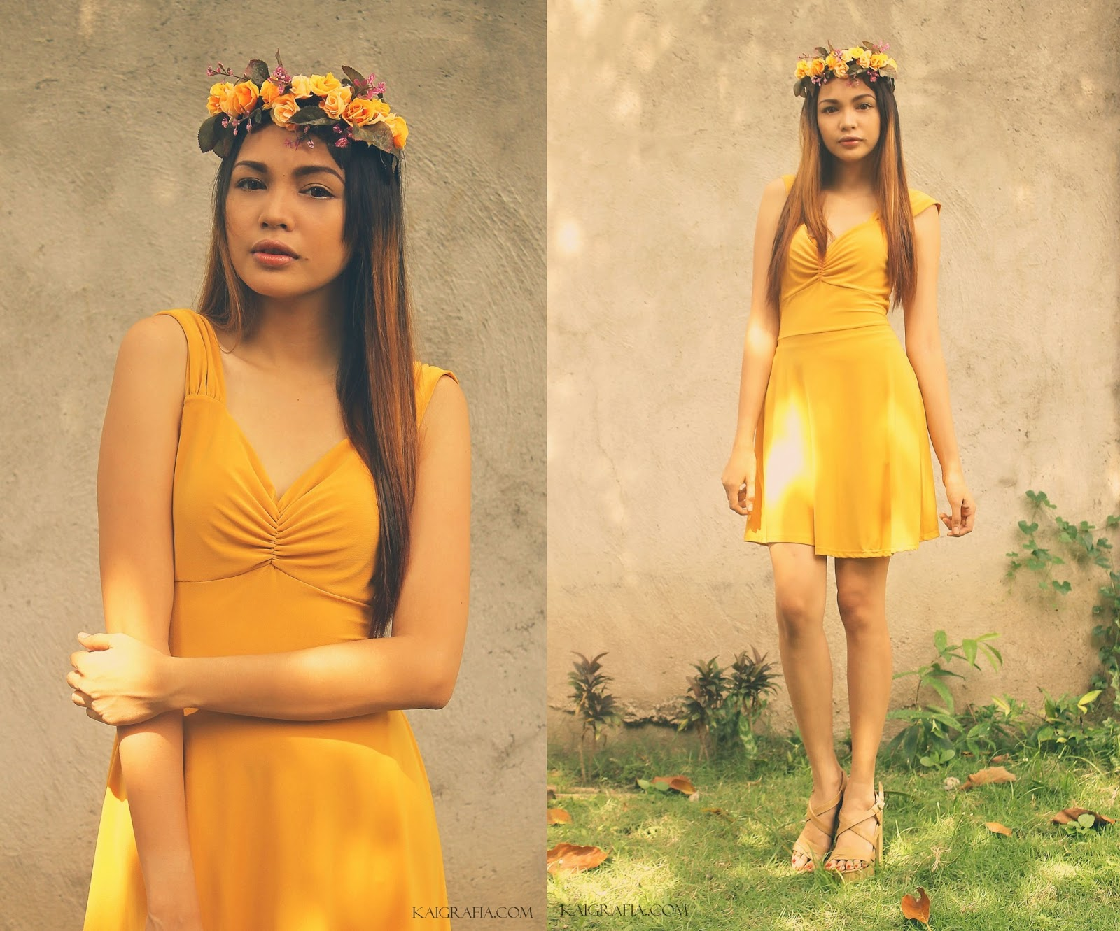 how to wear yellow dress and flower crowns
