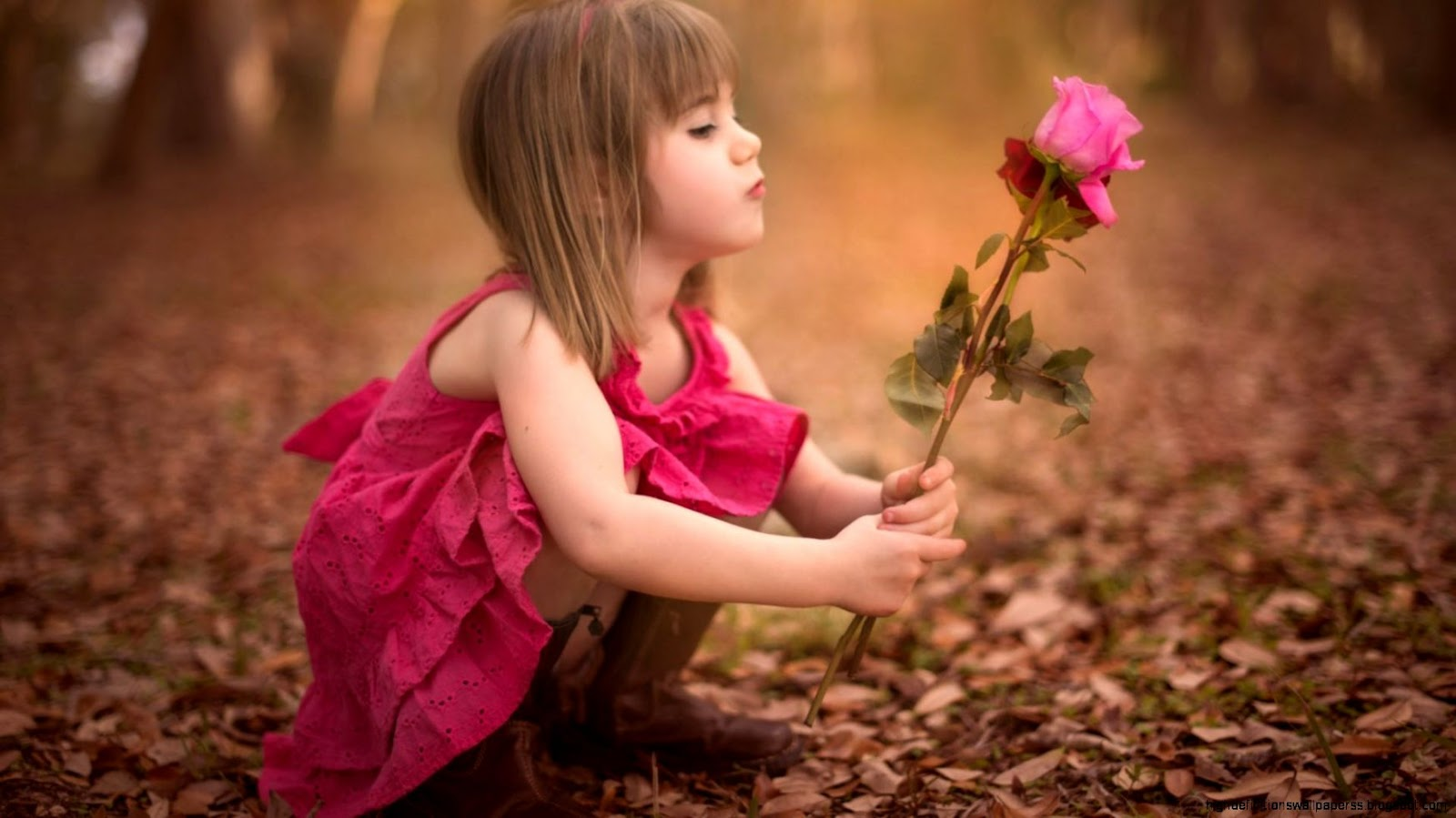 Little Girl Kids With Flowers Hd Wallpaper High Definitions Wallpapers