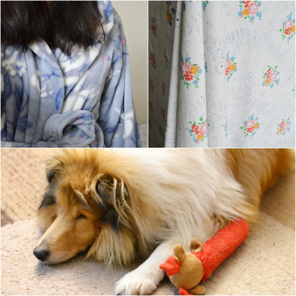 rough collie dog vintage sheet floral long tall sally robe dressing gown