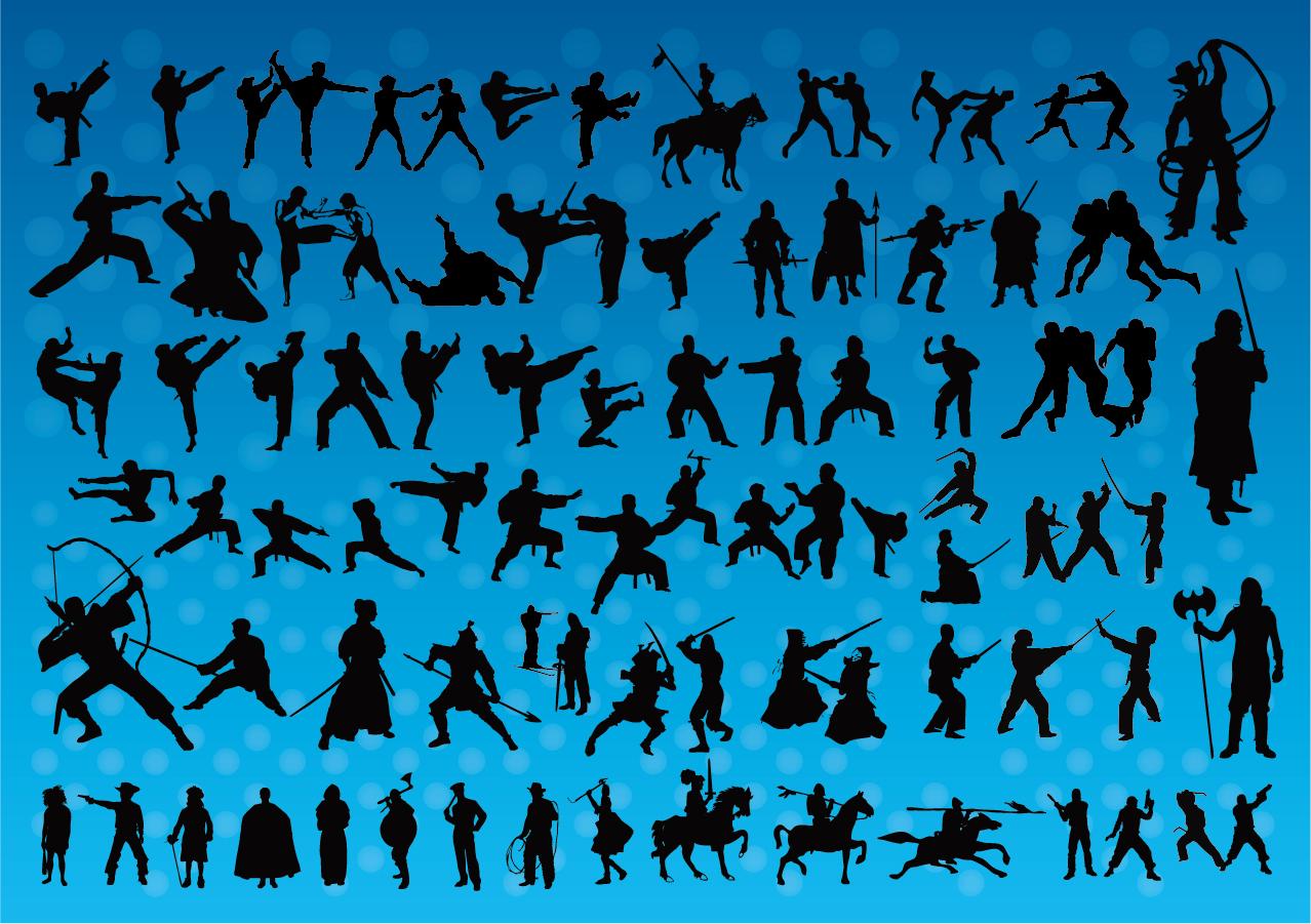 躍動的な格闘技のシルエット Fighting Silhouettes Vectors イラスト素材