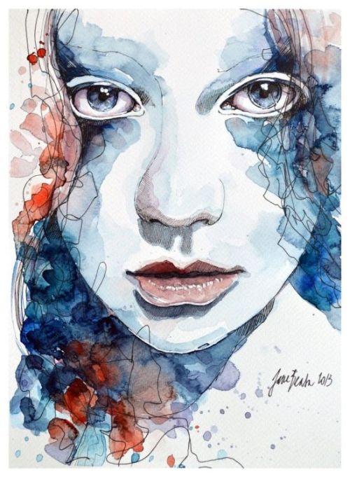Jana Lepejova jane-beata deviantart pinturas aquarela mulheres olhares femininos Rosas