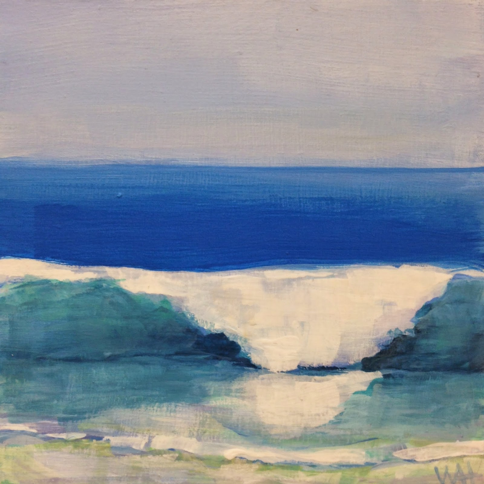 square acrylic painting of an ocean wave