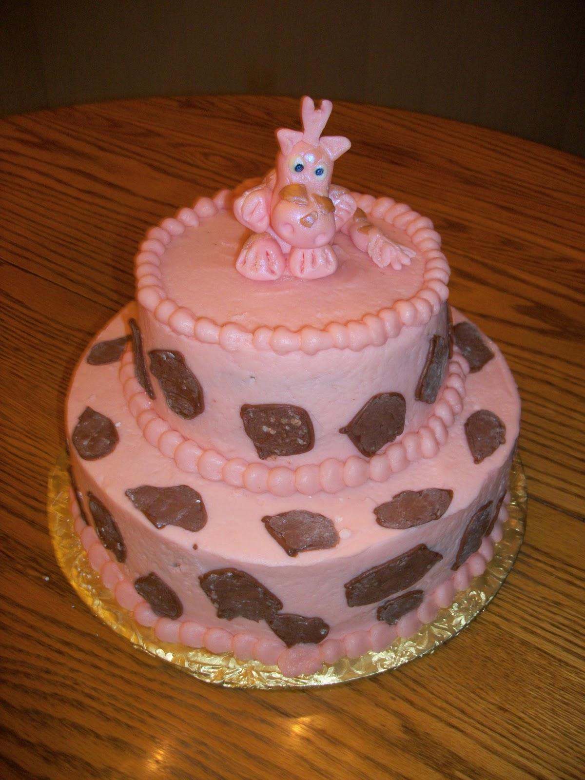 Scratchbaker Pink Giraffe Birthday Cake