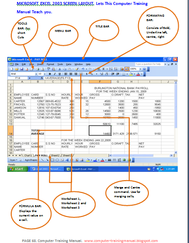 Wonderful Below Is A Typical Screen Layout Of Microsoft Excel 2003. Give Attention To  The Names Of The Button, Bars Etc.