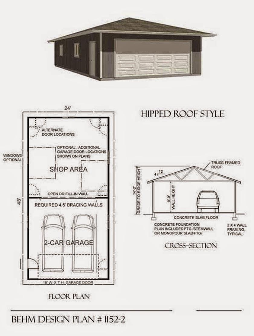 Garage plans blog behm design garage plan examples for Hip roof garage plans