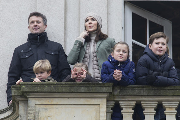 Crown Prince Frederik and Crown Princess Mary, with their four children, Prince Christian,Prince Vincent, Princess Josephine