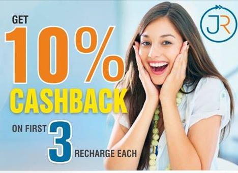 10% cashback on recharges at Jaldirecharge