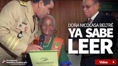 Doña Nicolasa Beltré sabe leer