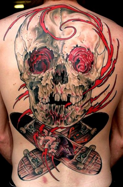 Awesome black red skull with skateboards tattoo on whole back
