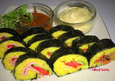recepti riž, recepti prigrizek, recepti iz riža, recepti z riža, alge nori, riž, paradižnik, kumare, prigrizek