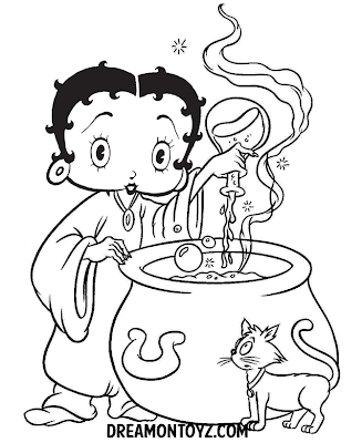 Betty Boop witch pouring a potion in her cauldron with a cat