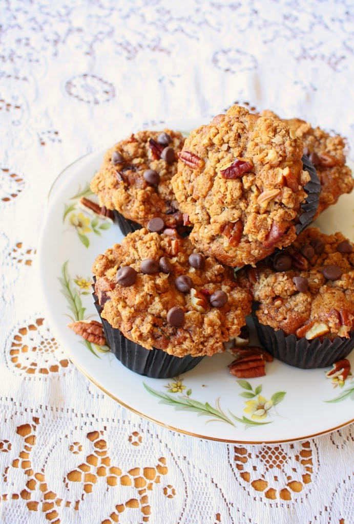 Courgette Chocolate Chip Muffins with Pecan Crumble